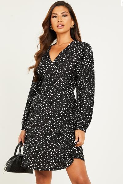Black Spot Print Long Sleeve Dress